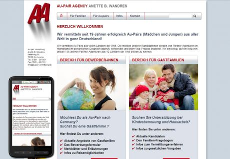 Screenshot Aupair-Vermittlung Wandres